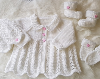 Milly Baby Cardigan, Bonnet or Beanie Hat, Mitts & Booties knitting pattern 0-6mths *Instant Download*