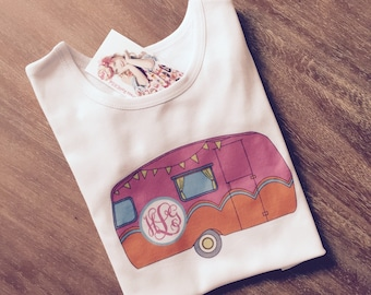Monogram camper camping shirt screen print girls personalized t shirt or tank 18 24 2 3 4 5 6 7 8 9 10