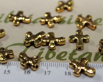 18 pcs per pack 13x11mm Reversible Cross Bead in Silver, Bronze or Gold Lead fre Pewter