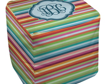 Retro Horizontal Stripes Cube Pouf Ottoman (Personalized)