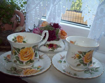 A set of two vintage Royal Albert cup and saucers