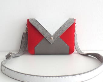 Red Gray White Wool Felt Genuine Leather Messenger Crossbody Bag