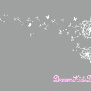 Dandelion wall decal, Dandelion wall art, Dandelion wall sticker, Flower Decor with butterfly-Large-DK133