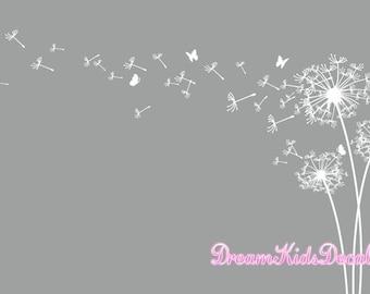 Dandelion wall decal, Dandelion wall art, Dandelion wall sticker, Flower Decor with butterfly-Large-DK133