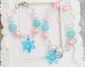 Frozen inspired Dollie and Me Chunky Necklace Set, Snowflake Dollie and Me necklace set