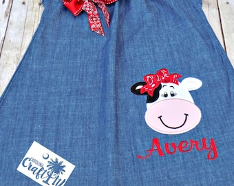 Girls Denim Dress, Cow Dress, Red Bandana,Toddler,Infant Girl Farm Birthday Dress, Appliqued, Embroidered, Personalized with Red Bandana Bow