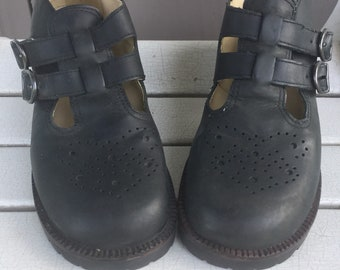Mia Black Leather Mary Jane Double Strap / T Strap Mary Jane Shoes by Mia / Chunky Quirky Heels Ladies Size