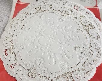 Vintage 12 Inch White Paper Doilies / ServEase White Paper Lace Doily Set