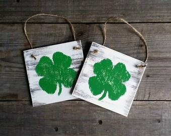 Distressed Rustic Wooden Shamrock Signs, St. Patricks Decor, Grungy Primitive St Patricks Signs, Wooden Shamrock Door Hanger, Set of 4