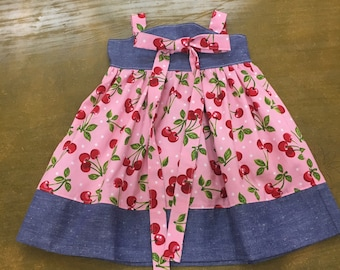 6-12 months Valentine's Day Dress, Valentine Dress, Girls' dress with bow, Red Valentine's Day, Red cherry dress, dress with cherries