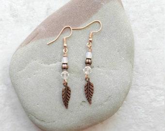 Crystal and Copper earrings, feather earrings, long dangle earrings, gifts for women, white earrings, bridal jewelry, anniversary gift ideas