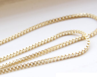 One Foot Premium Matte Gold Plated Brass Base Chains-Box 2mm (418C06)