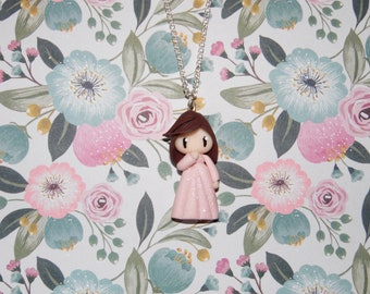 Necklace girl Brown and pale pink dress