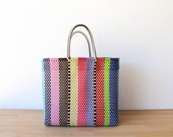 Colorful Mexican Beach Bag, Handwoven Mexican Tote,  Beach Bag, Getaway Bag, Picnic Bag, Weekend Bag, Travel Bag, Mexican Tote