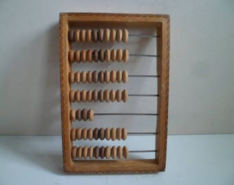Wooden soviet abacus, vintage store calculator.