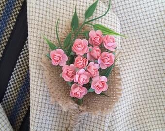Burlap boutonniere,  Rustic rose boutonniere,  Rustic romantic wedding,  Vintage boutonniere