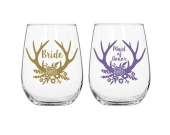 Rustic Wedding Decals, Bride Decal, Antler Wedding Decor, Bridal Party Decals, Wedding Decals, Wine Glass Decals