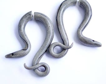 Python snake earrings - fake gauge, fake piercing, fake plugs, fake tapers, snake stud earrings, gauges, snake earrings, snake jewelry