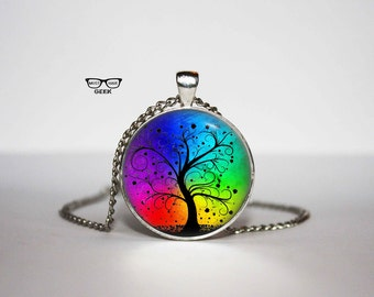Rainbow Tree of life Necklace, TREE OF LIFE pendant, Tree of Life jewelry, for him, Art Gifts, for Her