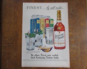 1949 Original Vintage Kentucky Tavern Straight Bourbon Whiskey ad