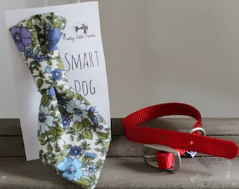 Retro Blue Floral Handmade Smart Dog Tie