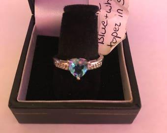 Ring genuine blue topaz