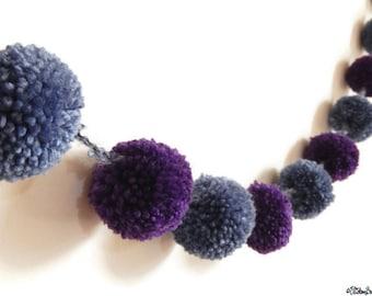 Pom Pom Garland, Blue and Purple, Pom Poms, Fabric Garland, 110cm Long, Party Decoration, Home Decor, Pom Pom Bunting,Party Pom Poms,Garland