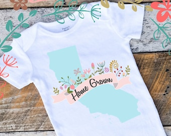 Baby Girl Onesies®, State Onesie for Girls, Baby Girl Onesie with State, Home Grown Onesie, State Bodysuit, Made In State, Texas, California