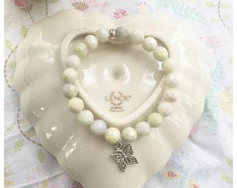 Healing gemstone bracelet, Jasper bracelet, Peridot Jasper bracelet, butterfly charm, healing gemstone bracelet