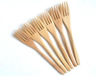 6 medium wooden forks 7 inch | wood forks set | salad forks set | hostess forks set gift | wedding wooden forks | party favor wooden forks