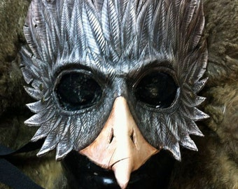 Bird mask in boiled leather