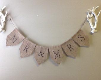 MR & MRS burlap banner, wedding decor, rustic wedding decor. Burlap Banner.