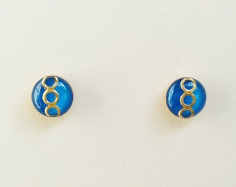 Tiny Blue Stud Earrings, Small Blue Resin Earrings, Royal Blue retro Stud Earrings, Hypoallergenic, Resin Jewelry, For Her