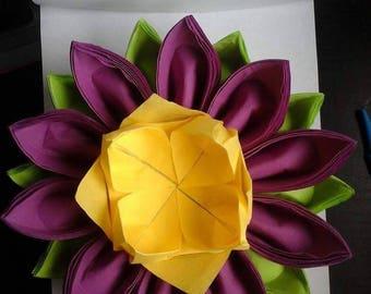 Folding napkin dispenser flower Orchid, yellow, lime green