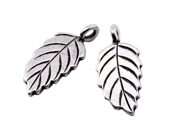 Thai Karen Hill Tribe Silver,Leaf Shaped Karen Hill Tribe Handmade Charms,Charms,Karen Silver- KSC0141