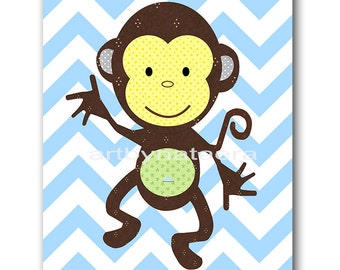 Monkey Nursery Baby Boy Nursery Art Kids Wall Art Nursery Wall Art Baby Nursery Kids Room Decor Kids Art Boy Print Blue Green Yellow