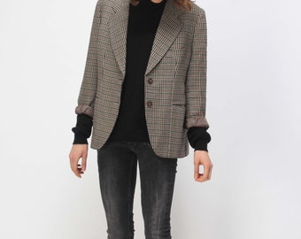 VINTAGE JACKET manstyle pied de poule, houndstooth // tomboy style //  size S M