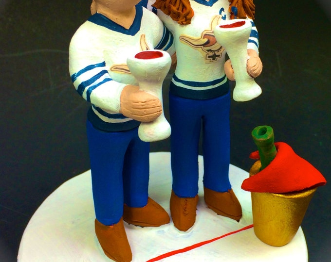 Lesbian Hockey Player's Wedding Cake Toppers custom made for same sex weddings! Handmade to your specifications. Lesbian Wedding Cake Topper