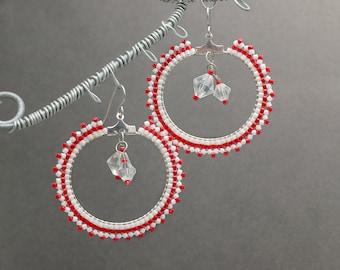 Large Hoop Earrings, Beaded Hoop earrings, Seed Bead Earrings, Bohemian Jewelry, Red Earrings