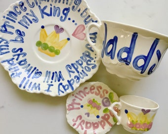 Daddy and Me tea for two matching tea cup sets. . .  Father's Day, Daddy Day Gift, Grandparents Day