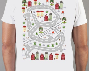 T-shirt with houses, gift for him, t shirt, cart, backmassage, t shirt on, mens car track shirt, race track, race track shirts, car track