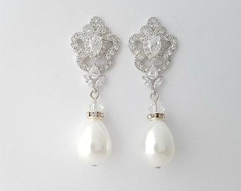 Bridal Earrings, Pearl Wedding Earrings, Crystal Pearl Drop Earrings, Teardrop Dangle Earrings, Earrings for Bride, Bridal Jewelry, Mabel