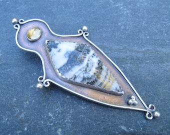 Bold copper pendant, Goddess shape pendant, Dendritic Agate Pendant, Copper and Silver pendant, mixed metal pendant, black and white gem