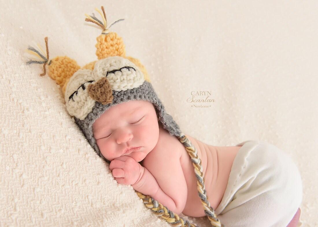 Neugeborenen müde Eule Hut Baby Eule Hut Baby Tier Hut