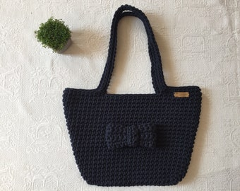 Blue crochet tote bag 100% cotton raw denim braided