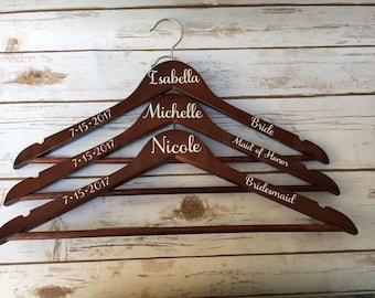 Bridal party hangers, Bride hangers, Bridesmaid hangers, Wedding party hangers, Personalized wedding hangers, Custom wedding hangers, Hanger