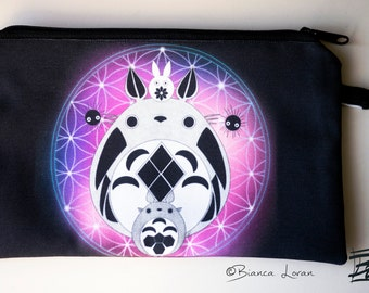 Totoro of Life Zippered Pouch - ghibli studio Clutch bag Purse Wristlet - Cosmetic pencil school - Bianca Loran Art