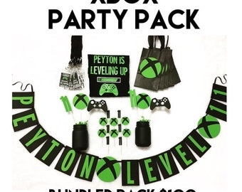 Gamer Xbox Party Pack - Banner / Cupcake Toppers / Favor Bags / Custom Shirt / Invites / Water Bottle Labels / Decor & More!