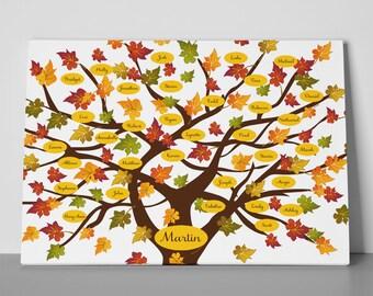 FALL Family Tree Print, Colorful Autumn Family Tree, Personalized Family Tree Print, Anniversary Gift, Christmas Gift