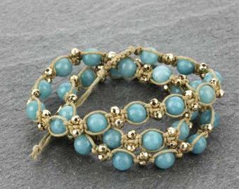 Handmade Genuine Stone Triple Wrap Bracelet - Turquoise